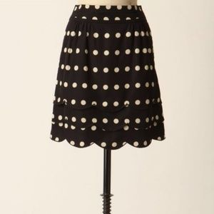 Anthropologie Floreat black scalloped dotted skirt